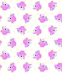 Cute Owls Seamless Pattern. Vector Illustration.