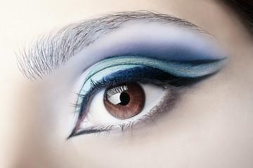 Professional makeup. Female eye, closeup