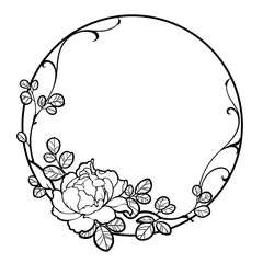 Decorative round frame with peony rose flower, leaves and swirls. Black line art on white background. Can be used for decorate postcards, tattoo, engraving, etching, decorate t-shorts, tunics, bags.
