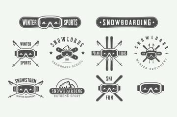Set of vintage snowboarding or winter sports logos, badges