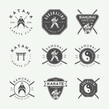 Set of vintage karate or martial arts logo, emblem, badge, label