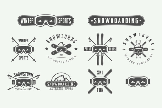 Set of vintage snowboarding or winter sports logos, badges