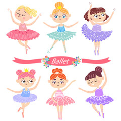 Cute ballerinas in various poses.  Ballet dancer. Vector illustrator isolated