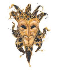 Masquerade mask watercolor illustration isolated on white background