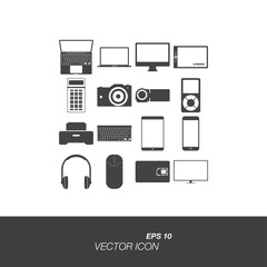 Set icons on the topic of technology in flat style isolated on white background. Set symbol for your design and logo. Vector illustration EPS 10.