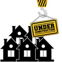under construction chain sign hanging crane vector illustration eps 10