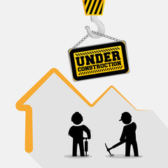 under construction sign hang workers with jackhammer pickaxe vector illustration eps 10