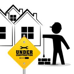 under construction worker brick wall vector illustration eps 10