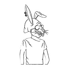 rabbit with hipster style over white background. vector illustration