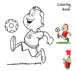 Football player. Coloring book. Cartoon vector illustration
