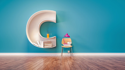 Room for learning The letter C has designed a bookshelf. 3d rend