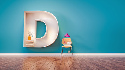 Room for learning The letter D has designed a bookshelf. 3d rend