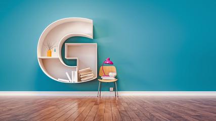 Room for learning The letter G has designed a bookshelf.