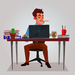 illustration of a man working on the laptop