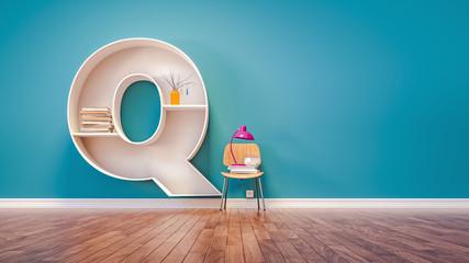 Room for learning The letter Q has designed a bookshelf.