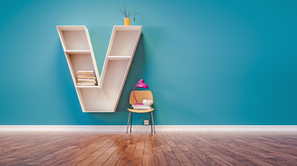 Room for learning The letter V has designed a bookshelf.