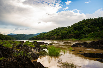 Landscape of Salween River in raining day