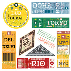 Retro Baggage Tags. Vector Illustration.