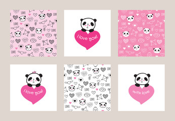 Set of Greeting cards and seamless patterns with cute pandas and hearts. Wrapping paper for Valentine's Day, Mother's Day, birthday, wedding. Doodles, sketch. Vector.