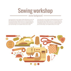 Vector colorful sewing workshop concept