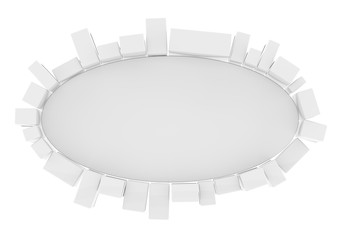 Circle advertising white board with cubes