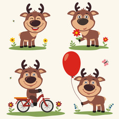 Vector set funny deer plays on meadow. Collection isolated deer on bicycle, with balloon and flower in cartoon style.