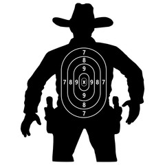 set cowboy duel target vector, insulated circuit silhouette training