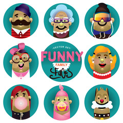 Vector funny icon set family faces
