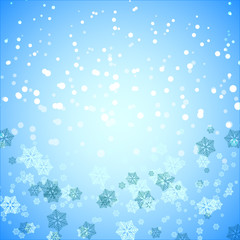 Created snowflake and snow abstract background