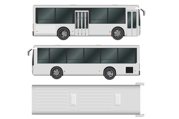 City bus template. Passenger transport. Vector illustration eps 10 isolated on white background.