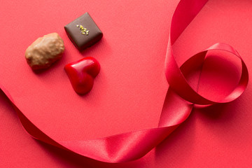 Heart and chocolate and ribbon