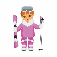 The boy in a beautiful ski suit. Vector illustration on a white background.