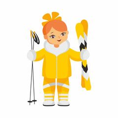 The girl in a beautiful ski suit. Vector illustration on a white background.