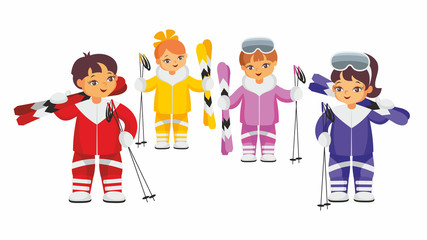 Girls and boys in multi-colored ski suits. Vector illustration on a white background.