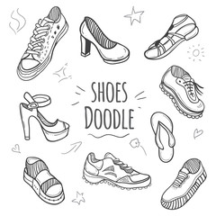 Boots doodle collection. Set of doodle shoes with sneakers, loafers, flip flops and sandals.Vector black and white illustration.