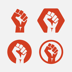 Raised fist set red logo icon - isolated vector illustration