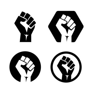 Raised fist set black logo icon - isolated vector illustration