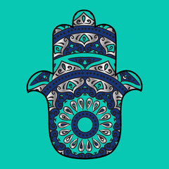 Drawing of a hamsa in blue, turquoise and silver colors, with floral ethnic round ornament on a turquoise background