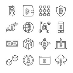 Blockchain, Cryptocurrency icons set