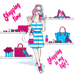 Beautiful girl goes shopping in stylish dress and sneakers. Fashionable clothing and accessories, shoes, handbags, sunglasses and perfume. Vector illustration for a card or poster. Print on clothes