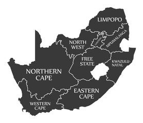 South Africa Map labelled black