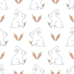 Seamless Pattern with Rabbit and Carrot