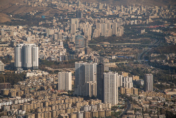 Aerial view of Tehran city, Iran