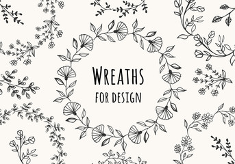 Collection of beautiful flower wreaths. Vector. Isolated.