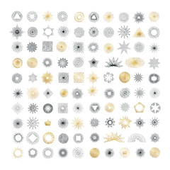 Hand drawn rays design elements. Collection of sunburst vintage