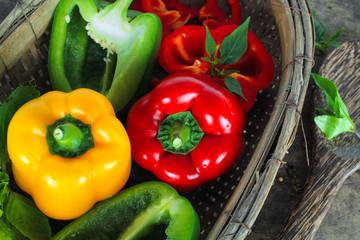 fresh bell pepper or capsicum, sweet pepper