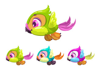 Cute cartoon little flying bird.