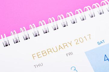 Close up February 2017 calendar page.