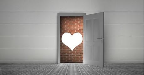 Open door to brick wall and heart shape