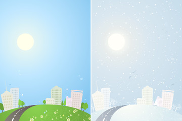 Summer and winter city backgrounds.